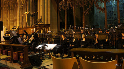 Photo of St Mary's church with choir for GameCity